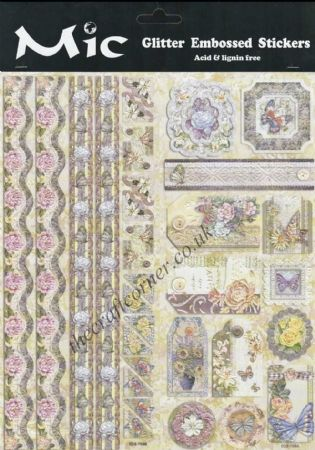 Cream Flowers & Butterflies Borders, Corners & Tags Embossed Glitter Sticker
